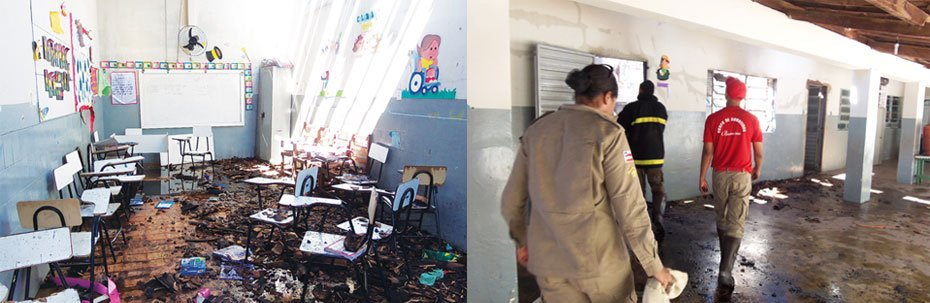 A falta de equipamento foi um dos fatores para o alastramento do fogo que destruiu carteiras escolares e salas de aula