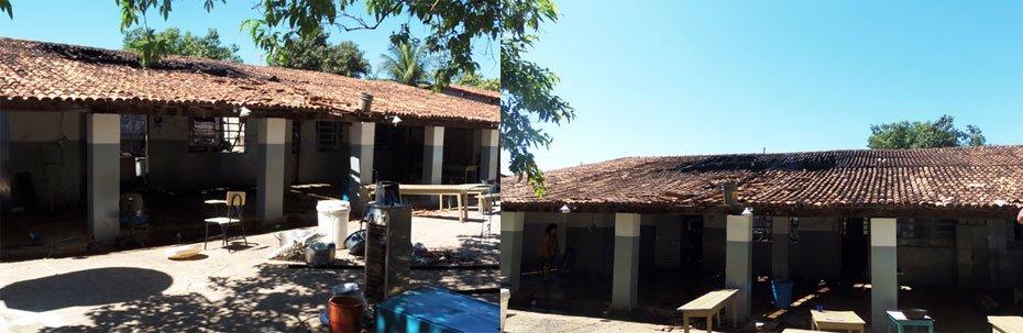 O incêndio destruiu a cantina, três salas de aulas, fogão, geladeira, freezer e móveis. O telhado da escola ficou bastante danificado