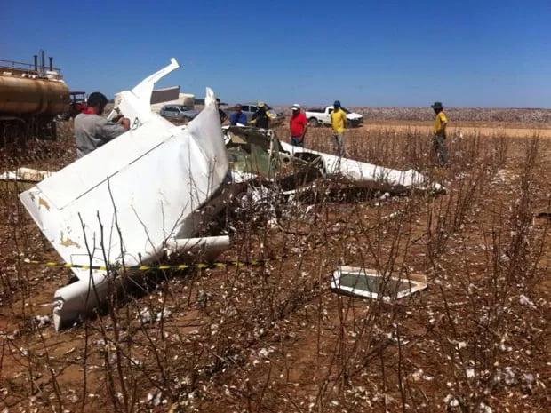 Local onde caiu o avião com Rui Rezende, no oeste da Bahia   Foto: Sigi Vilares