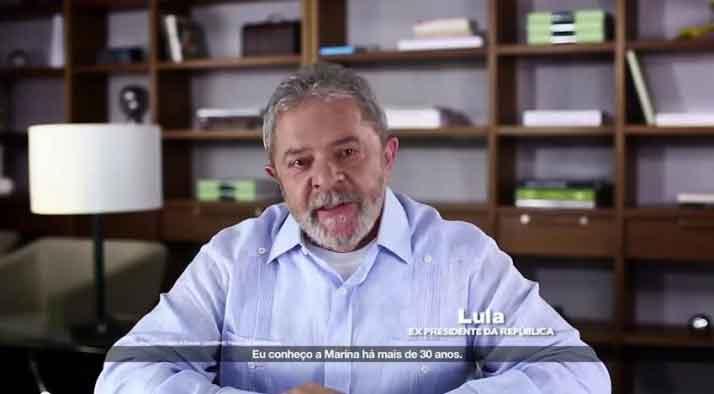 Reprodução/YouTube Cena do vídeo original em que Lula pede voto para a candidata Marina Santanna