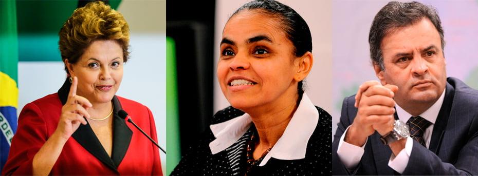 Dilma Rousseff, Aécio Neves, e Marina Silva são os três principais candidatos à corrida presidencial 2014 | Fotos: reprodução