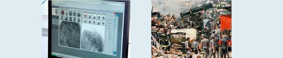 Comparação de digitais de cadáveres / Intervenção de peritos papiloscopistas em acidentes aéreos | Fotos: Divulgação