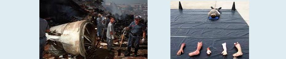 Intervenção de peritos papiloscopistas em acidentes aéreos / Cenário encontrado pelos especialistas depois de acidentes | Fotos: Divulgação