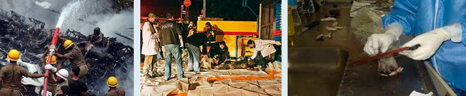 Cenário encontrado pelos especialistas depois de acidentes / Avaliação de vítimas em cenas de desastre / Perito papiloscopista identificando pessoas | Fotos: Divulgação