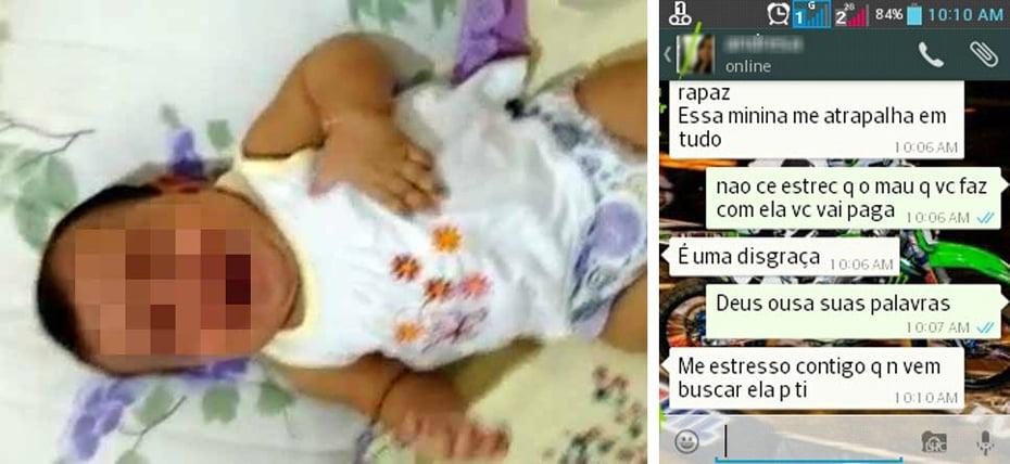 Mãe tentou sufocar bebê de seis meses / Conversa entre os pais da criança no aplicativo WhatsApp   Fotos: Divulgação/Polícia Civil