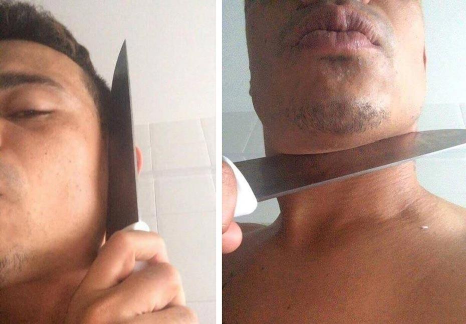 Bernardo aparece ameaçando se matar em foto que circula pela internet | Foto: Reprodução/Twitter