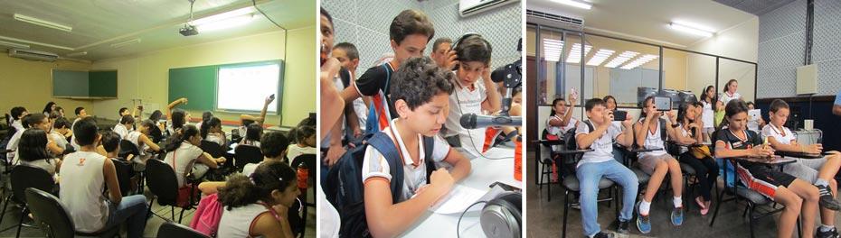 Os alunos curtiram uma exibição de vídeos, fizeram gravações no laboratório de rádio e visitaram o laboratório de TV | Fotos: Araticum