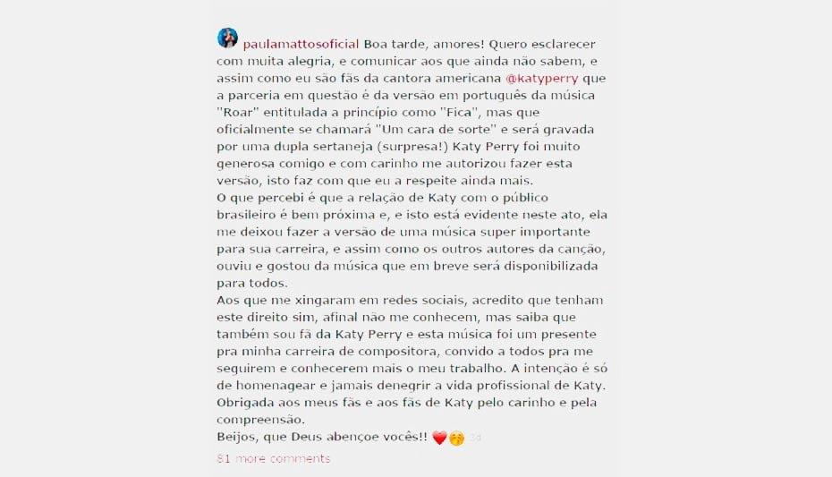 Foto: @paulamattosoficial / Instagram / Reprodução