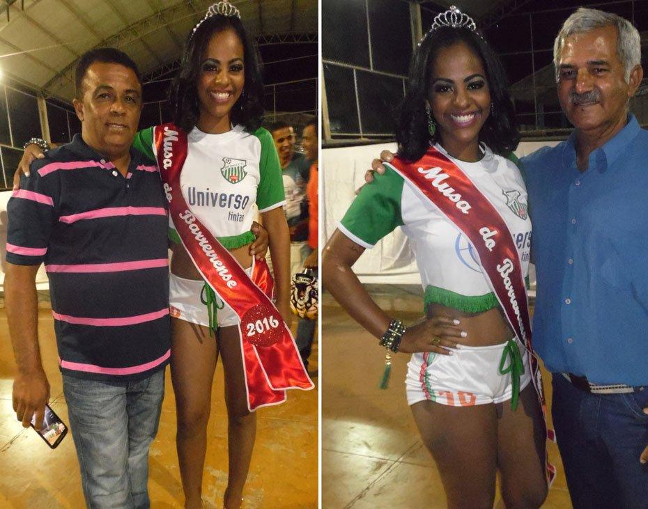 Uyara Cheila ao lado de Josemir (presidente do Rio Verde) e de Onofre (presidente da LBF) | Fotos: Osmar Ribeiro/Falabarreiras
