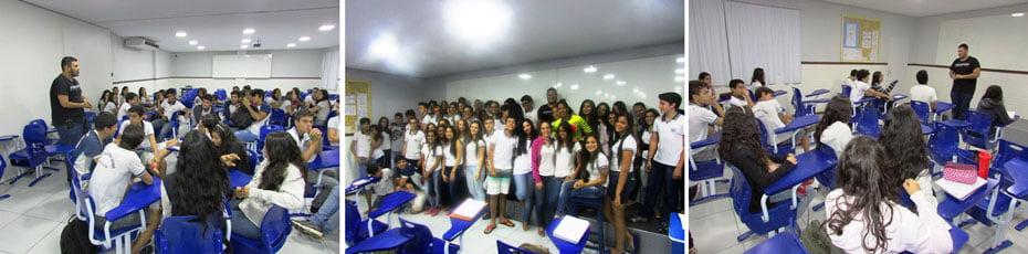 Gustavo Ribeiro, hoje professor do curso de Audiovisual da FASB, palestrando para os alunos da Escola São José   Fotos: Araticum