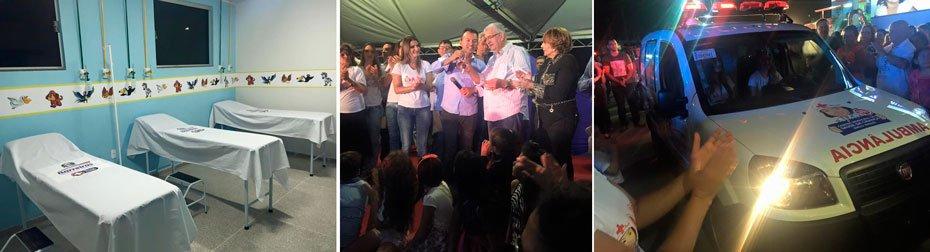 O prefeito Antonio Henrique recebeu das mãos de Rembrandt e Sandra Cordeiro, uma ambulância para a clínica | Fotos: Reprodução Facebook Kelly Magalhães